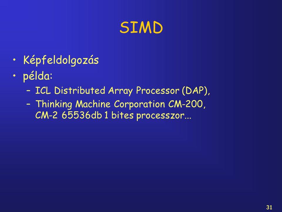 31 SIMD Képfeldolgozás példa: –ICL Distributed Array Processor (DAP), –Thinking Machine Corporation CM-200, CM-2 65536db 1 bites processzor...