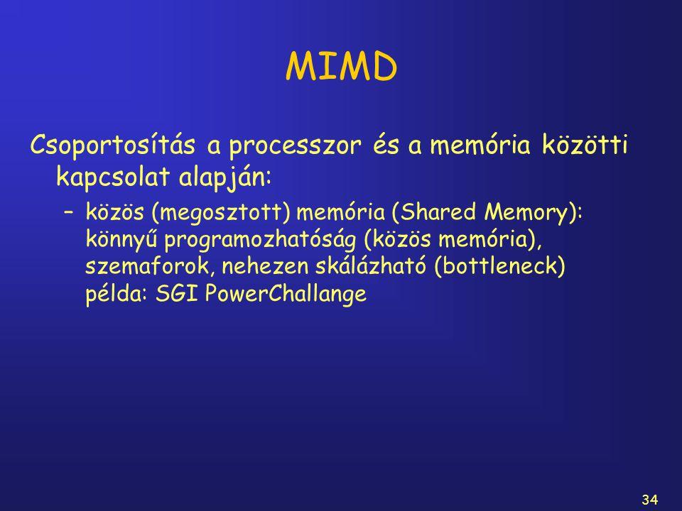 34 MIMD Csoportosítás a processzor és a memória közötti kapcsolat alapján: –közös (megosztott) memória (Shared Memory): könnyű programozhatóság (közös