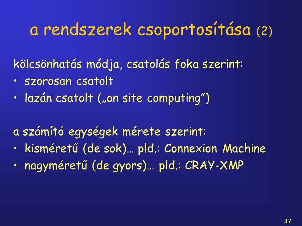 """37 a rendszerek csoportosítása (2) kölcsönhatás módja, csatolás foka szerint: szorosan csatolt lazán csatolt (""""on site computing"""") a számító egységek"""