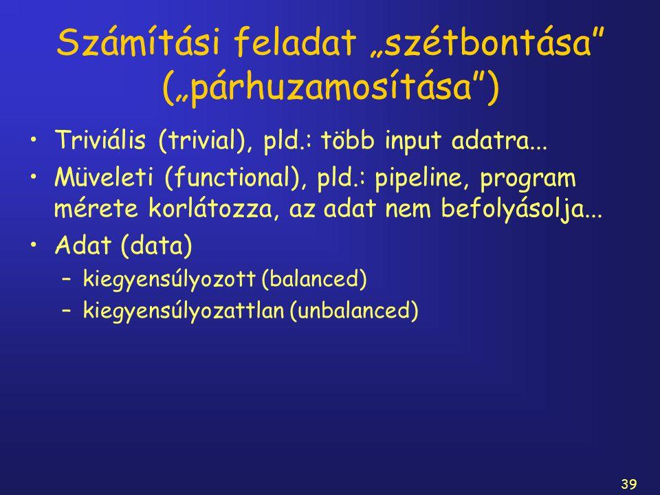"""39 Számítási feladat """"szétbontása"""" (""""párhuzamosítása"""") Triviális (trivial), pld.: több input adatra... Müveleti (functional), pld.: pipeline, program"""