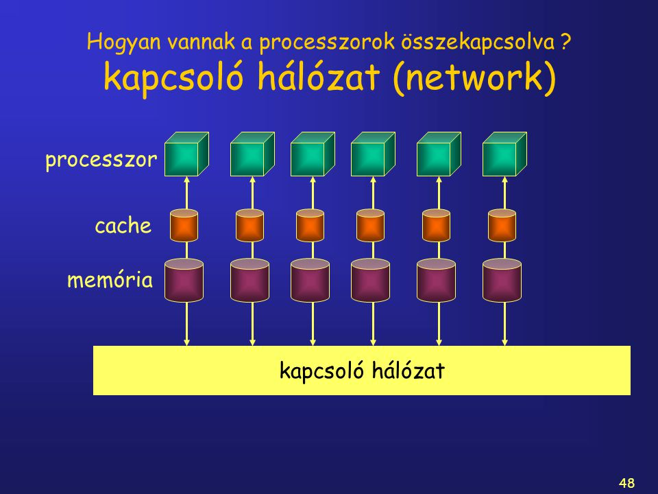 48 Hogyan vannak a processzorok összekapcsolva ? kapcsoló hálózat (network) processzor memória cache kapcsoló hálózat