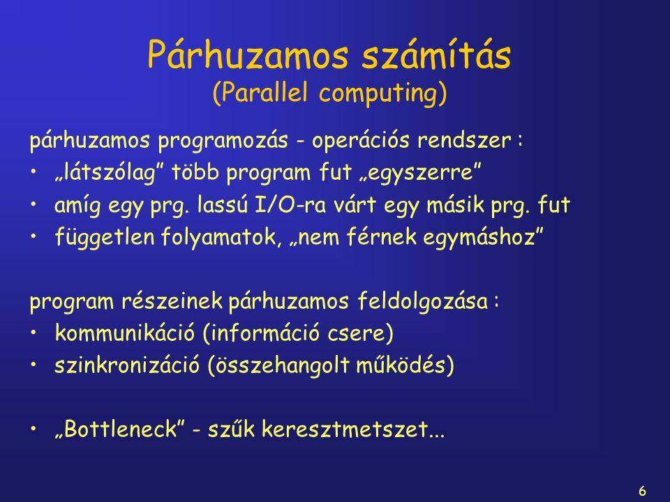 """6 Párhuzamos számítás (Parallel computing) párhuzamos programozás - operációs rendszer : """"látszólag"""" több program fut """"egyszerre"""" amíg egy prg. lassú"""