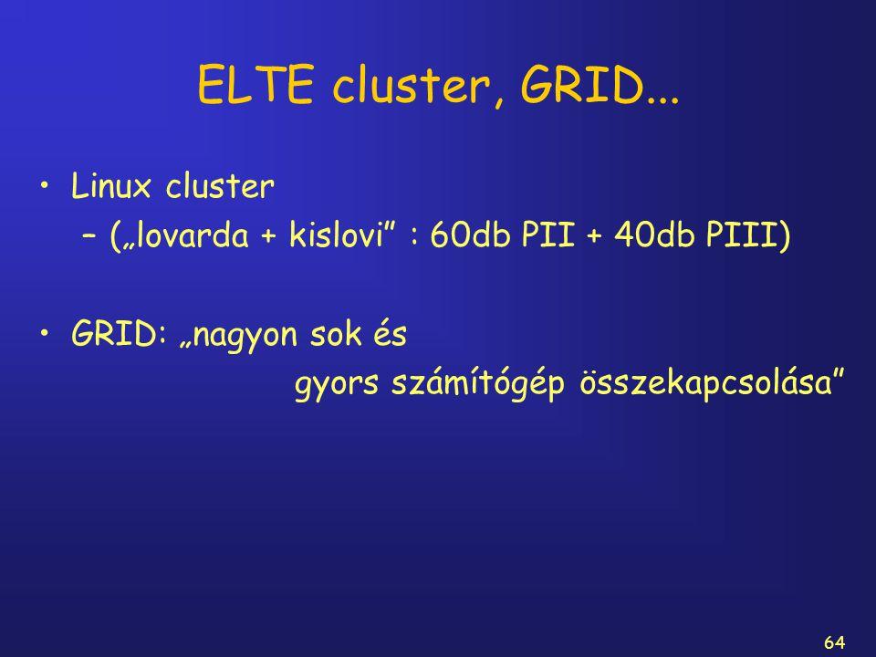 """64 ELTE cluster, GRID... Linux cluster –(""""lovarda + kislovi"""" : 60db PII + 40db PIII) GRID: """"nagyon sok és gyors számítógép összekapcsolása"""""""