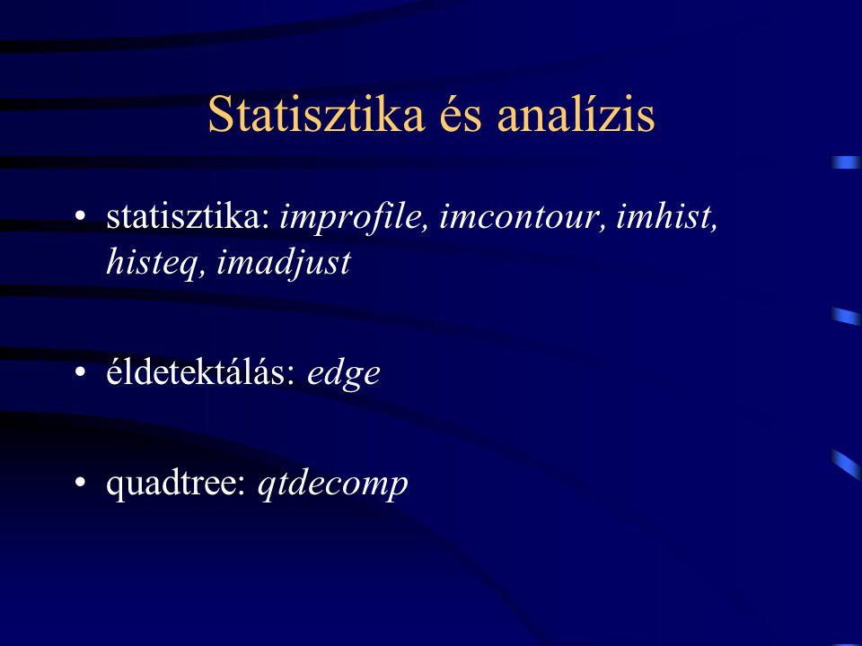 Statisztika és analízis statisztika: improfile, imcontour, imhist, histeq, imadjust éldetektálás: edge quadtree: qtdecomp