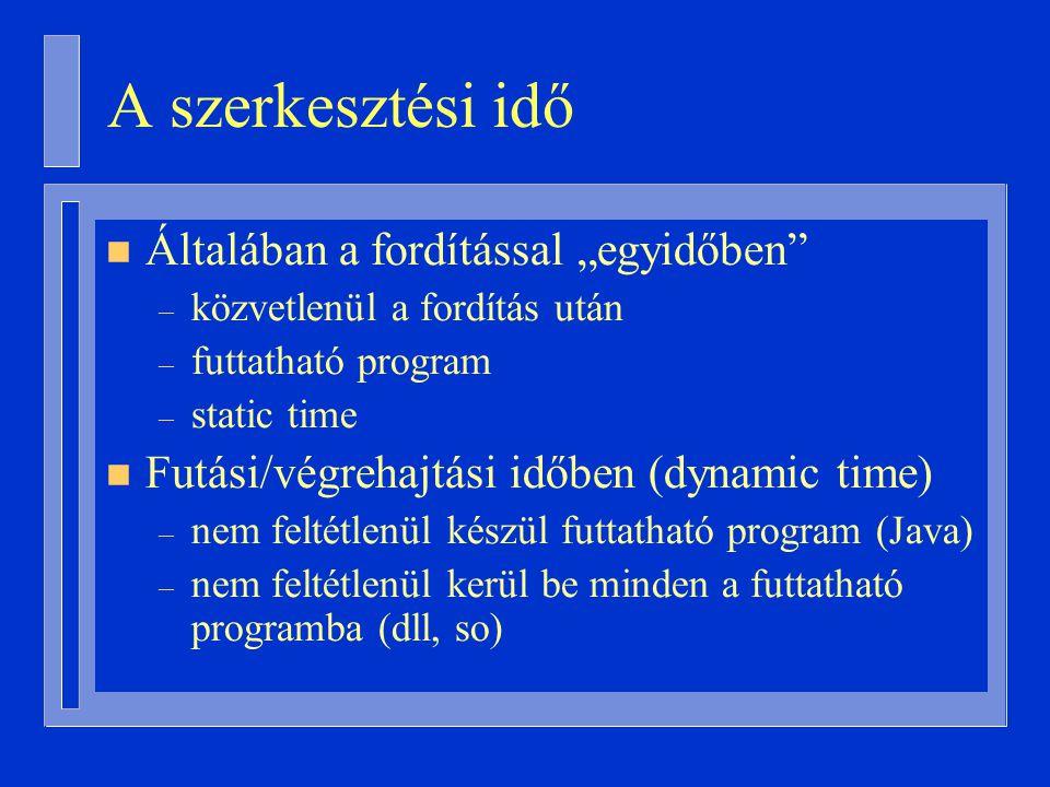 """A szerkesztési idő n Általában a fordítással """"egyidőben – közvetlenül a fordítás után – futtatható program – static time n Futási/végrehajtási időben (dynamic time) – nem feltétlenül készül futtatható program (Java) – nem feltétlenül kerül be minden a futtatható programba (dll, so)"""