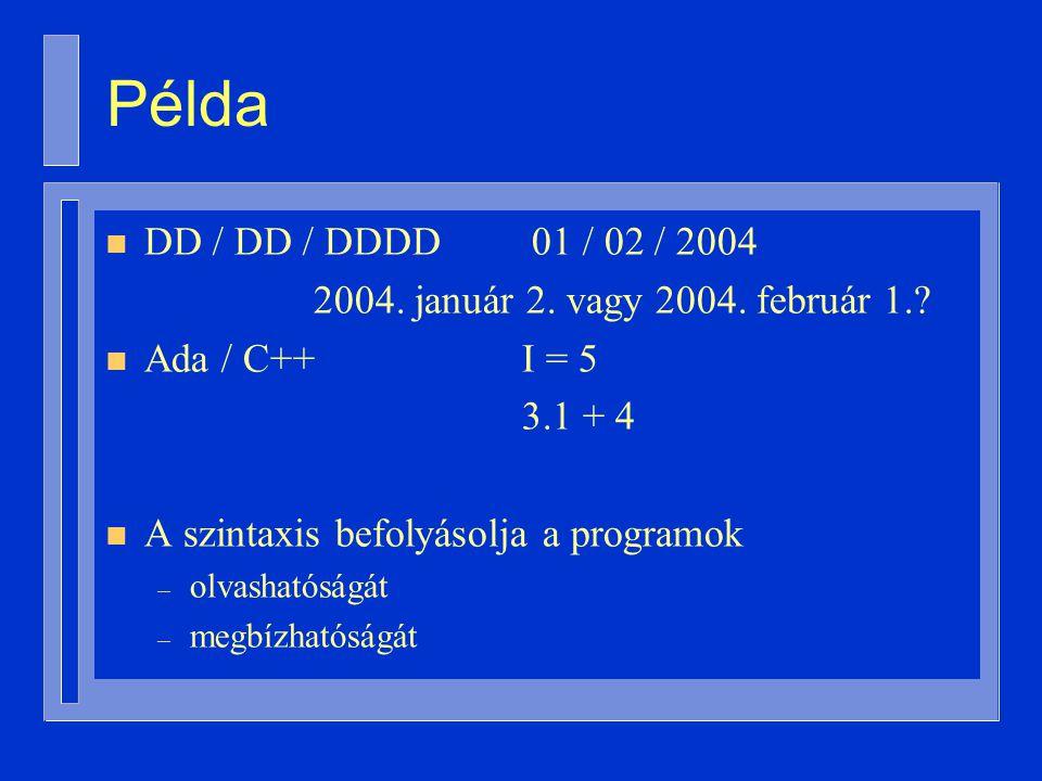 Példa n DD / DD / DDDD 01 / 02 / 2004 2004. január 2.