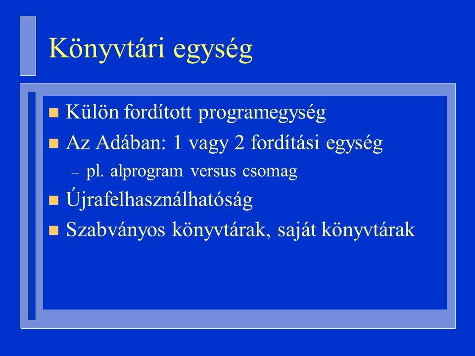 Könyvtári egység n Külön fordított programegység n Az Adában: 1 vagy 2 fordítási egység – pl.