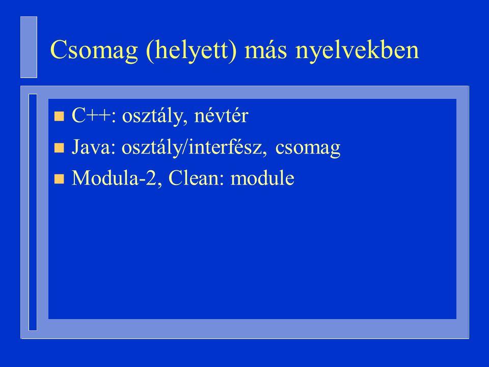 Csomag (helyett) más nyelvekben n C++: osztály, névtér n Java: osztály/interfész, csomag n Modula-2, Clean: module