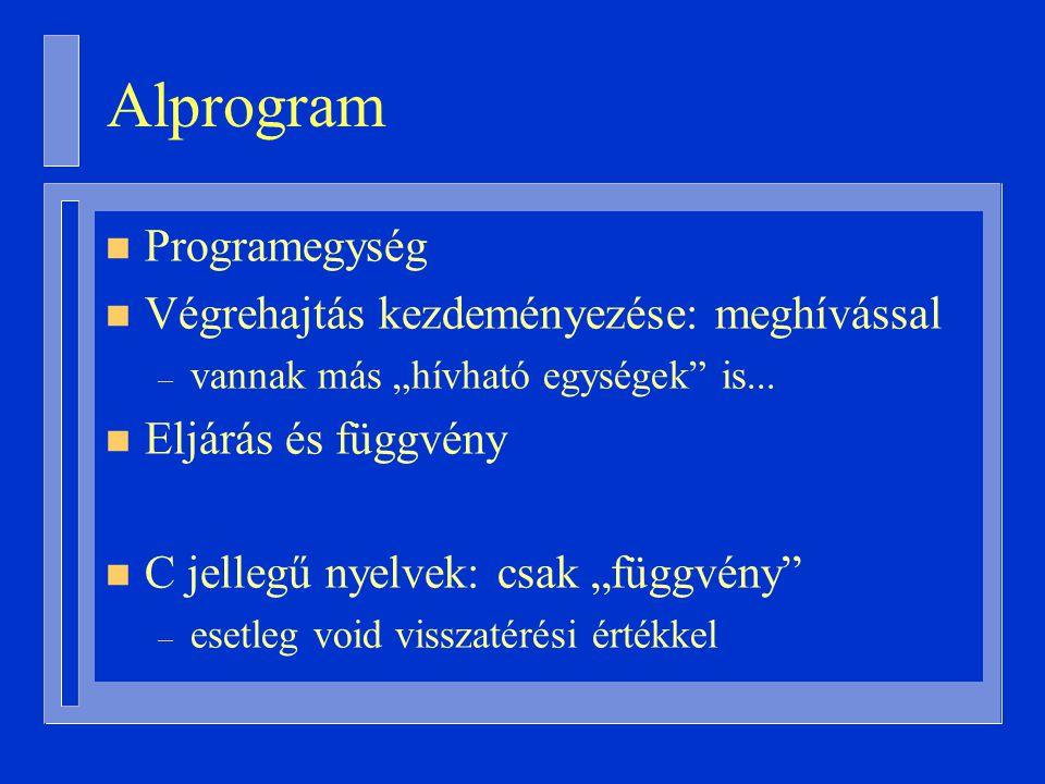"""Alprogram n Programegység n Végrehajtás kezdeményezése: meghívással – vannak más """"hívható egységek is..."""