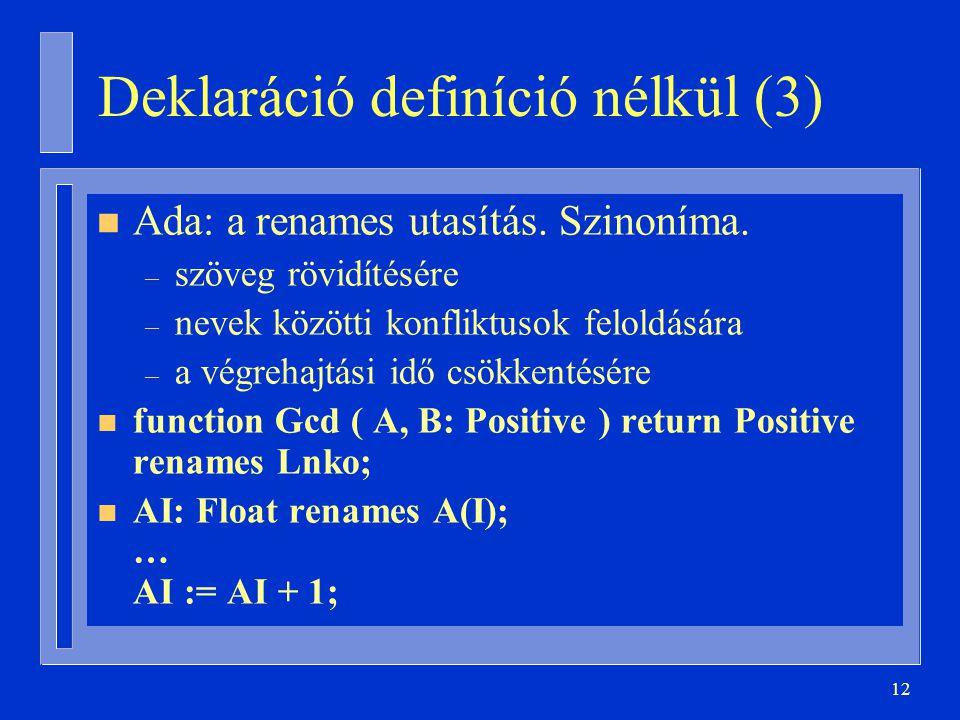 12 Deklaráció definíció nélkül (3) n Ada: a renames utasítás.