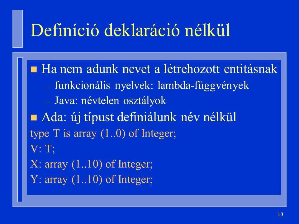 13 Definíció deklaráció nélkül n Ha nem adunk nevet a létrehozott entitásnak – funkcionális nyelvek: lambda-függvények – Java: névtelen osztályok n Ada: új típust definiálunk név nélkül type T is array (1..0) of Integer; V: T; X: array (1..10) of Integer; Y: array (1..10) of Integer;