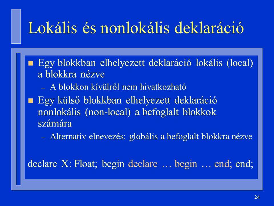 24 Lokális és nonlokális deklaráció n Egy blokkban elhelyezett deklaráció lokális (local) a blokkra nézve – A blokkon kívülről nem hivatkozható n Egy külső blokkban elhelyezett deklaráció nonlokális (non-local) a befoglalt blokkok számára – Alternatív elnevezés: globális a befoglalt blokkra nézve declare X: Float; begin declare … begin … end; end;