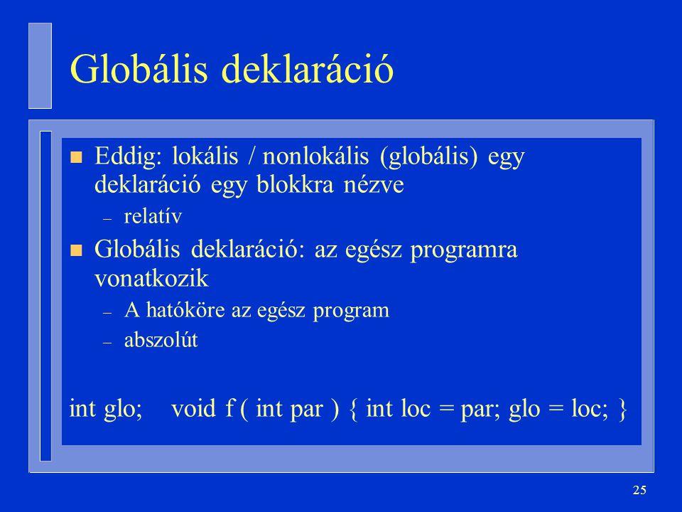 25 Globális deklaráció n Eddig: lokális / nonlokális (globális) egy deklaráció egy blokkra nézve – relatív n Globális deklaráció: az egész programra vonatkozik – A hatóköre az egész program – abszolút int glo; void f ( int par ) { int loc = par; glo = loc; }
