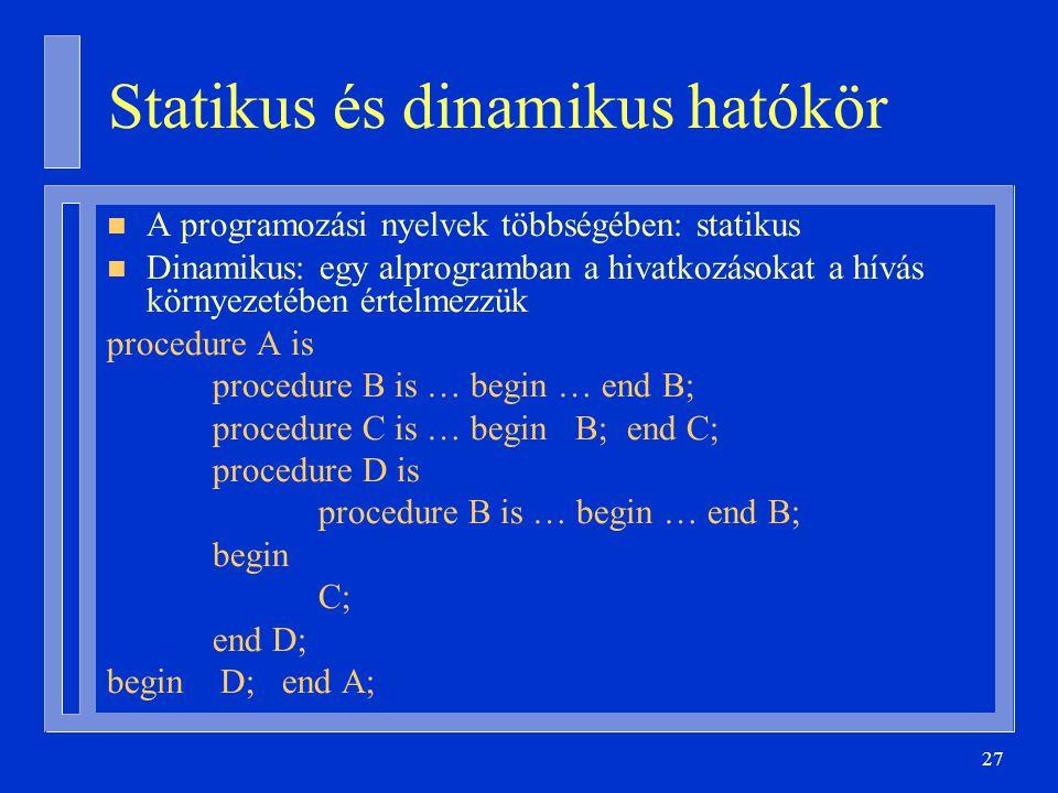 27 Statikus és dinamikus hatókör n A programozási nyelvek többségében: statikus n Dinamikus: egy alprogramban a hivatkozásokat a hívás környezetében értelmezzük procedure A is procedure B is … begin … end B; procedure C is … begin B; end C; procedure D is procedure B is … begin … end B; begin C; end D; begin D; end A;