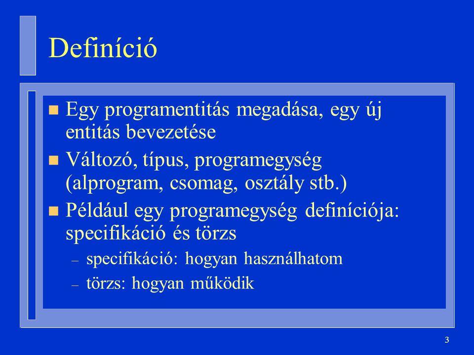 3 Definíció n Egy programentitás megadása, egy új entitás bevezetése n Változó, típus, programegység (alprogram, csomag, osztály stb.) n Például egy programegység definíciója: specifikáció és törzs – specifikáció: hogyan használhatom – törzs: hogyan működik