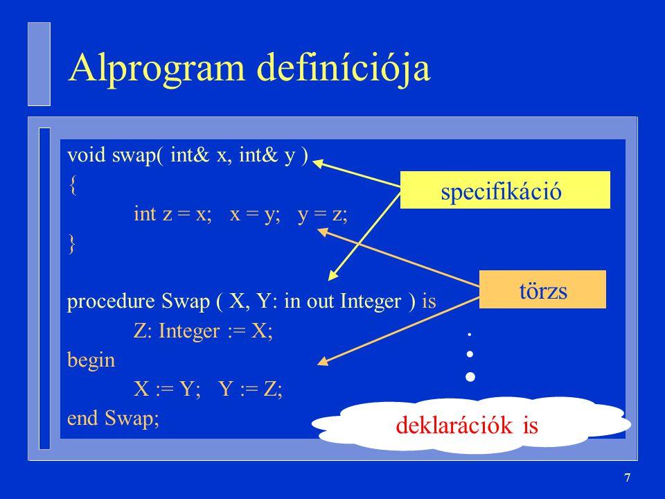 7 Alprogram definíciója void swap( int& x, int& y ) { int z = x; x = y; y = z; } procedure Swap ( X, Y: in out Integer ) is Z: Integer := X; begin X := Y; Y := Z; end Swap; specifikáció törzs deklarációk is