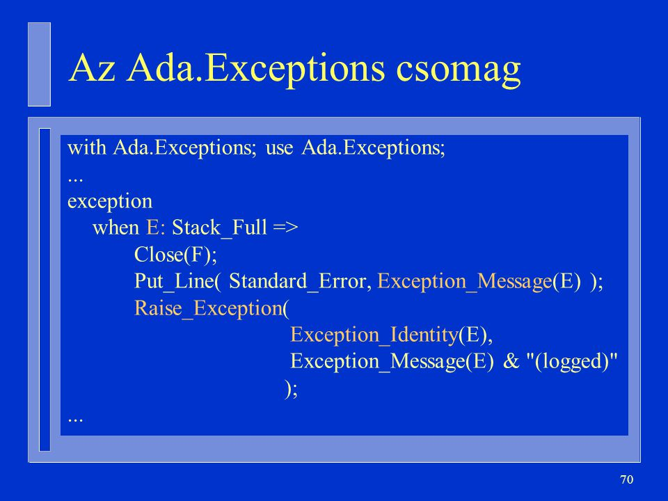 70 Az Ada.Exceptions csomag with Ada.Exceptions; use Ada.Exceptions;...