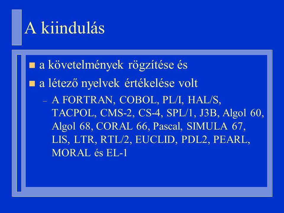 A kiindulás n a követelmények rögzítése és n a létező nyelvek értékelése volt – A FORTRAN, COBOL, PL/I, HAL/S, TACPOL, CMS-2, CS-4, SPL/1, J3B, Algol 60, Algol 68, CORAL 66, Pascal, SIMULA 67, LIS, LTR, RTL/2, EUCLID, PDL2, PEARL, MORAL és EL-1