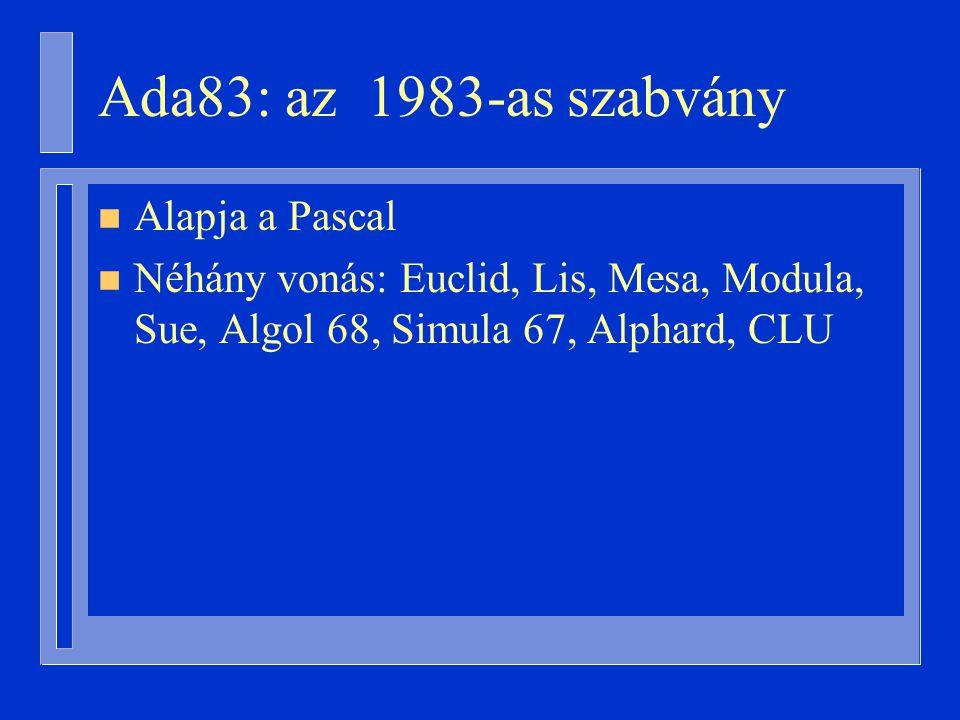 Ada83: az 1983-as szabvány n Alapja a Pascal n Néhány vonás: Euclid, Lis, Mesa, Modula, Sue, Algol 68, Simula 67, Alphard, CLU