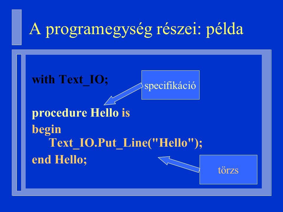 with Text_IO; procedure Hello is begin Text_IO.Put_Line( Hello ); end Hello; specifikáció törzs A programegység részei: példa