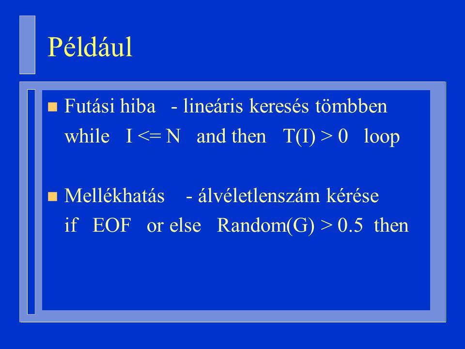 Például n Futási hiba - lineáris keresés tömbben while I 0 loop n Mellékhatás - álvéletlenszám kérése if EOF or else Random(G) > 0.5 then