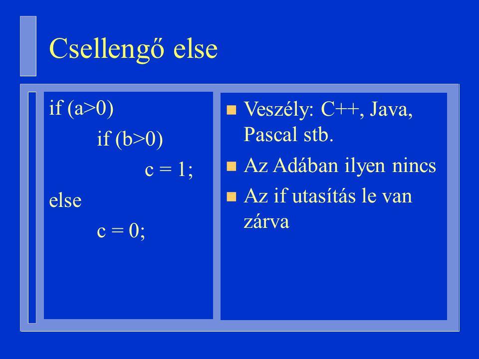 Csellengő else if (a>0) if (b>0) c = 1; else c = 0; n Veszély: C++, Java, Pascal stb.