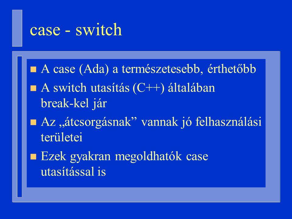 """case - switch n A case (Ada) a természetesebb, érthetőbb n A switch utasítás (C++) általában break-kel jár n Az """"átcsorgásnak vannak jó felhasználási területei n Ezek gyakran megoldhatók case utasítással is"""