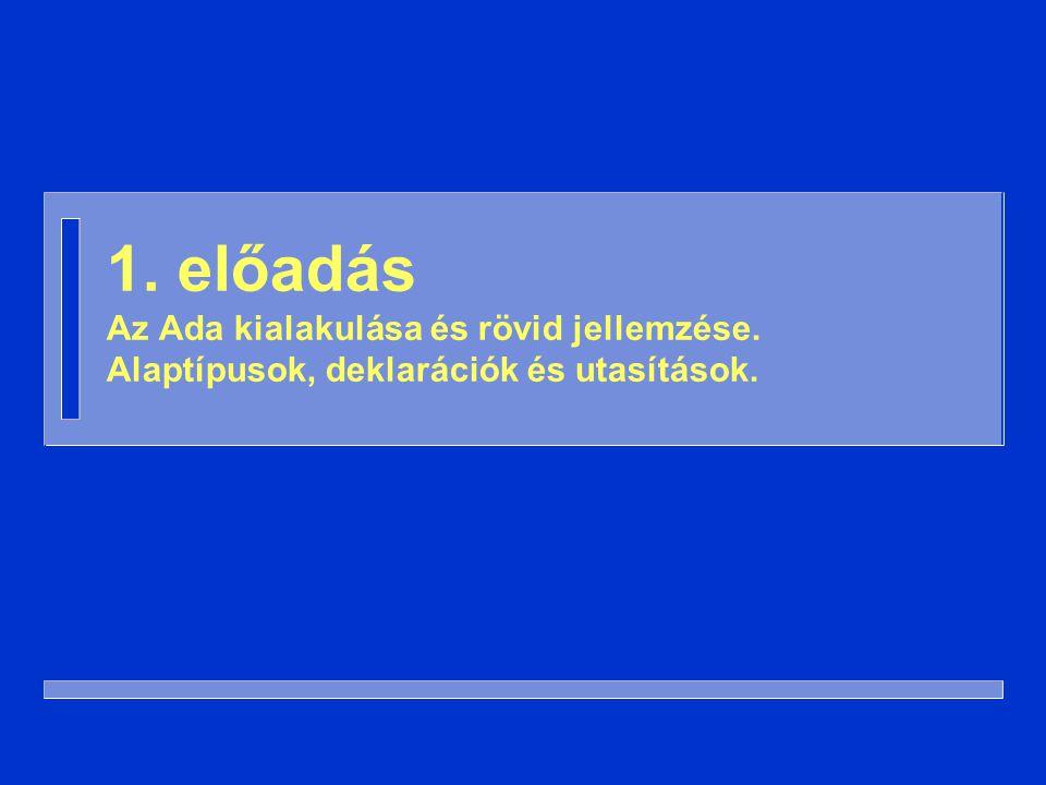 with Ada.Integer_Text_IO; procedure Négyzet is N: Integer; begin Ada.Integer_Text_IO.Get( N ); Ada.Integer_Text_IO.Put( N*N ); end Négyzet; deklarációs rész utasítás- sorozat A törzs részei: példa