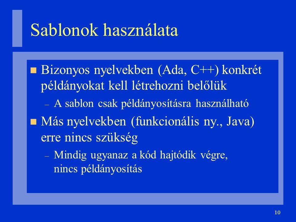 10 Sablonok használata Bizonyos nyelvekben (Ada, C++) konkrét példányokat kell létrehozni belőlük – A sablon csak példányosításra használható Más nyel