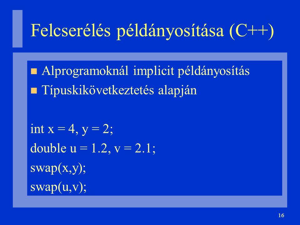 16 Felcserélés példányosítása (C++) Alprogramoknál implicit példányosítás Típuskikövetkeztetés alapján int x = 4, y = 2; double u = 1.2, v = 2.1; swap(x,y); swap(u,v);