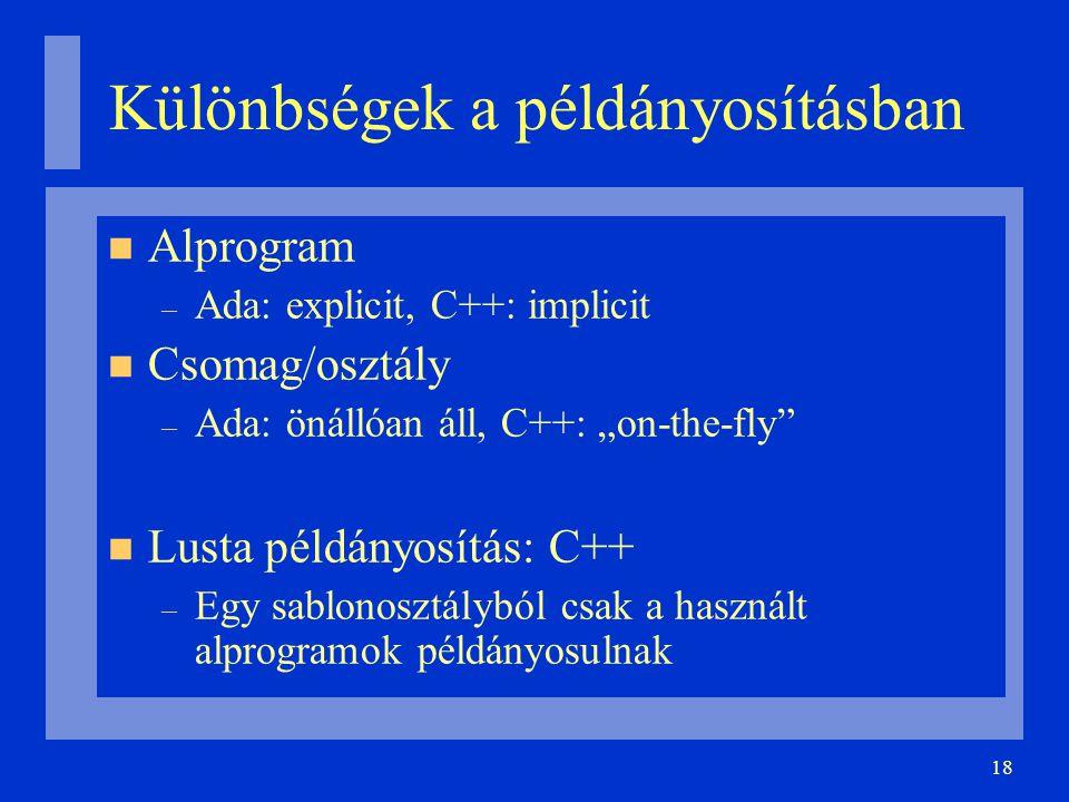 """18 Különbségek a példányosításban Alprogram – Ada: explicit, C++: implicit Csomag/osztály – Ada: önállóan áll, C++: """"on-the-fly Lusta példányosítás: C++ – Egy sablonosztályból csak a használt alprogramok példányosulnak"""