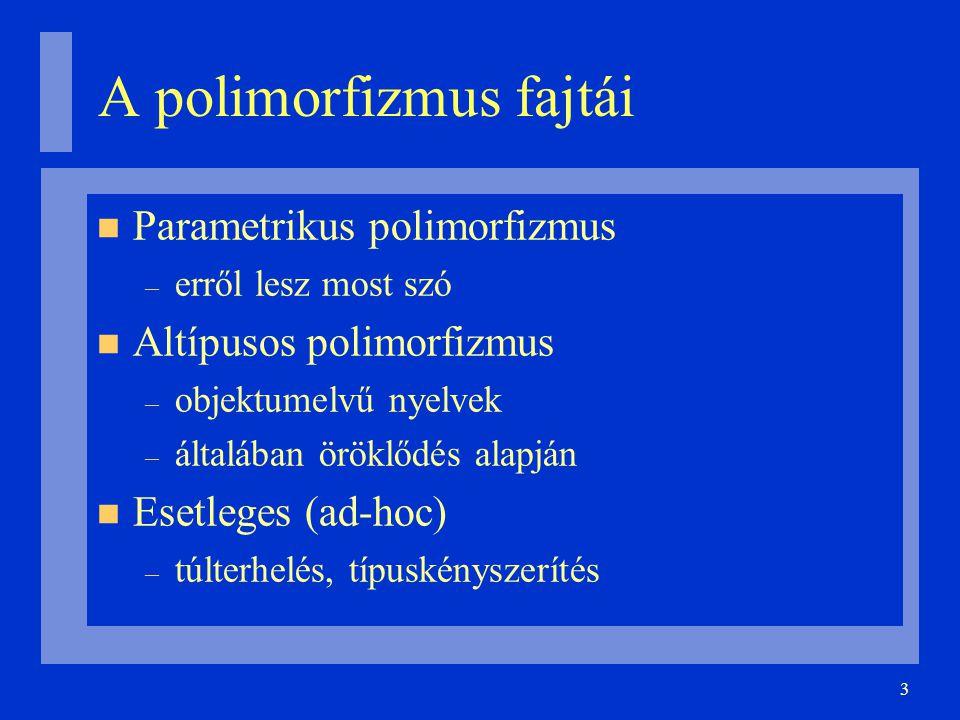 3 A polimorfizmus fajtái Parametrikus polimorfizmus – erről lesz most szó Altípusos polimorfizmus – objektumelvű nyelvek – általában öröklődés alapján Esetleges (ad-hoc) – túlterhelés, típuskényszerítés