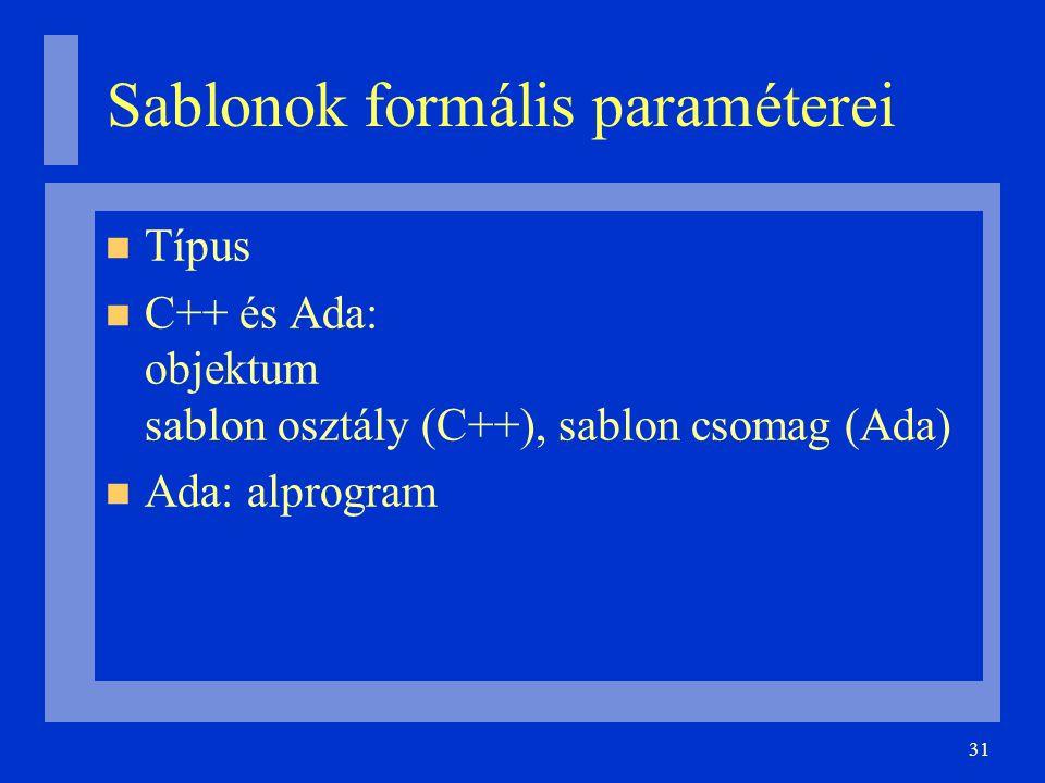 31 Sablonok formális paraméterei Típus C++ és Ada: objektum sablon osztály (C++), sablon csomag (Ada) Ada: alprogram