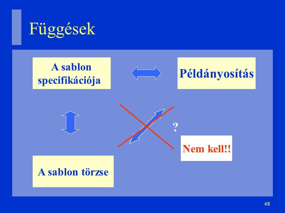 48 Függések A sablon specifikációja A sablon törzse Példányosítás Nem kell!!