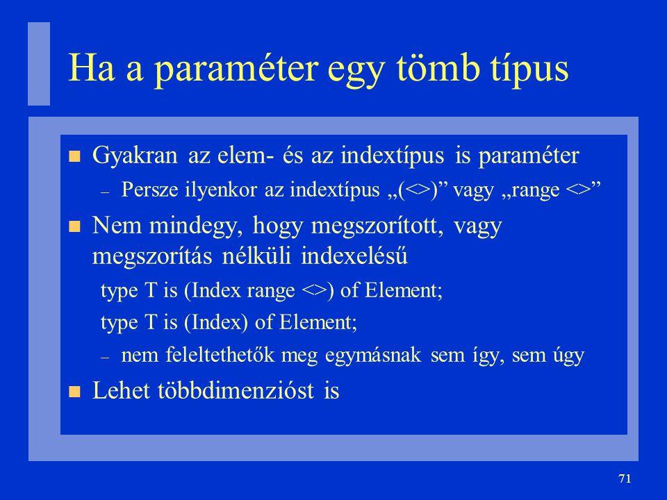 """71 Ha a paraméter egy tömb típus Gyakran az elem- és az indextípus is paraméter – Persze ilyenkor az indextípus """"(<>) vagy """"range <> Nem mindegy, hogy megszorított, vagy megszorítás nélküli indexelésű type T is (Index range <>) of Element; type T is (Index) of Element; – nem feleltethetők meg egymásnak sem így, sem úgy Lehet többdimenzióst is"""