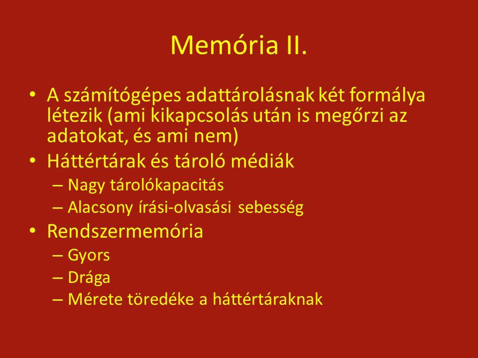 Memória II. A számítógépes adattárolásnak két formálya létezik (ami kikapcsolás után is megőrzi az adatokat, és ami nem) Háttértárak és tároló médiák