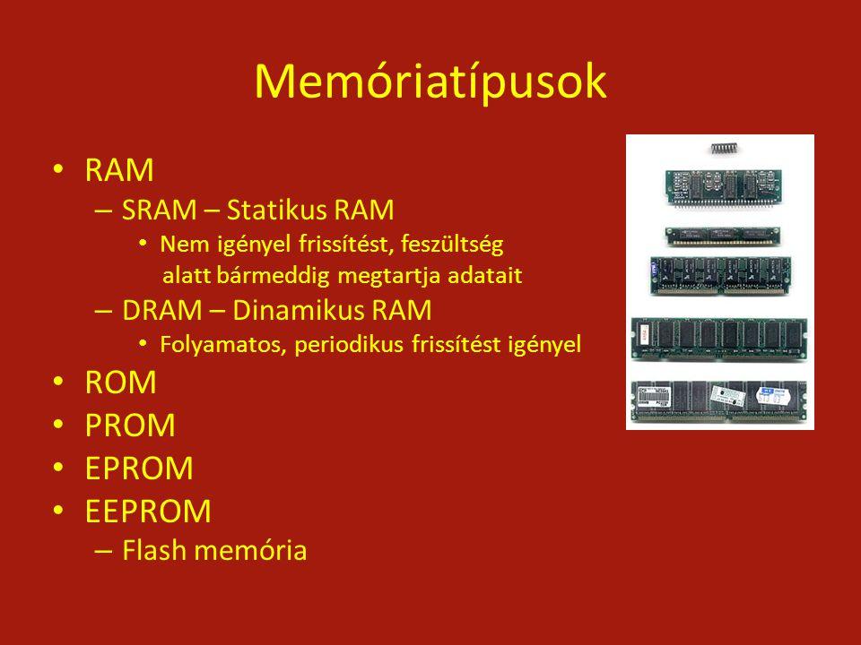 Memóriatípusok RAM – SRAM – Statikus RAM Nem igényel frissítést, feszültség alatt bármeddig megtartja adatait – DRAM – Dinamikus RAM Folyamatos, perio