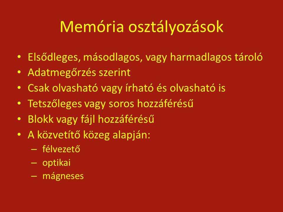 Memória osztályozások Elsődleges, másodlagos, vagy harmadlagos tároló Adatmegőrzés szerint Csak olvasható vagy írható és olvasható is Tetszőleges vagy