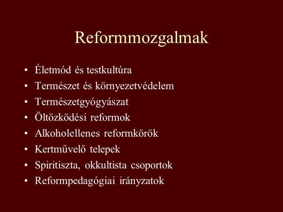 Reformmozgalmak Életmód és testkultúra Természet és környezetvédelem Természetgyógyászat Öltözködési reformok Alkoholellenes reformkörök Kertművelő te