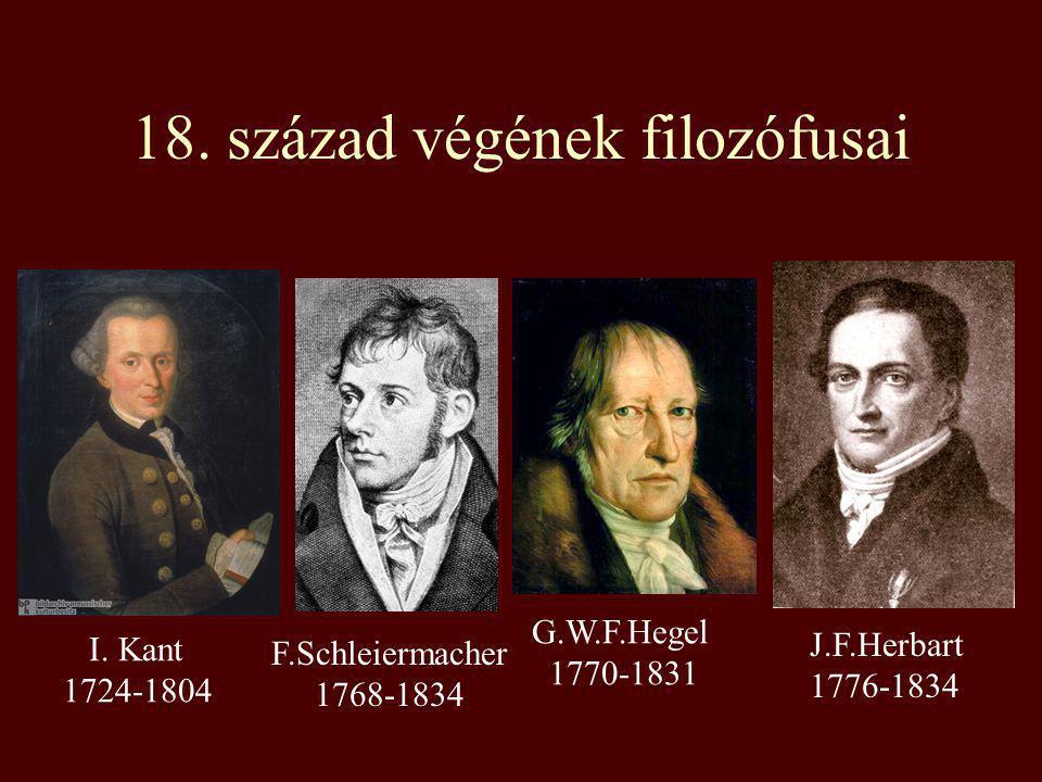 18. század végének filozófusai I. Kant 1724-1804 F.Schleiermacher 1768-1834 G.W.F.Hegel 1770-1831 J.F.Herbart 1776-1834