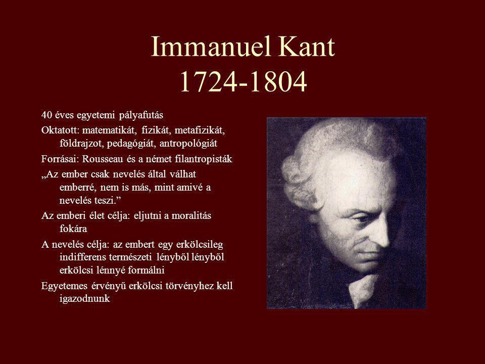 Immanuel Kant 1724-1804 40 éves egyetemi pályafutás Oktatott: matematikát, fizikát, metafizikát, földrajzot, pedagógiát, antropológiát Forrásai: Rouss