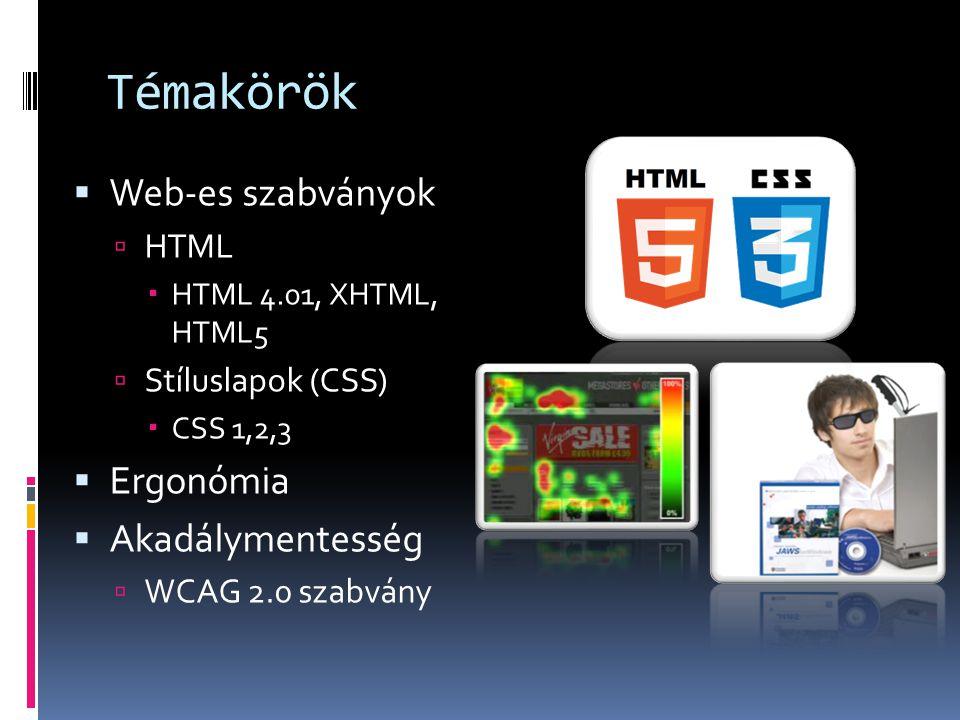 Témakörök  Web-es szabványok  HTML  HTML 4.01, XHTML, HTML5  Stíluslapok (CSS)  CSS 1,2,3  Ergonómia  Akadálymentesség  WCAG 2.0 szabvány
