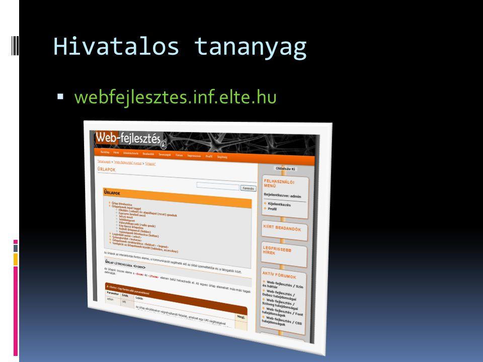 Hivatalos tananyag  webfejlesztes.inf.elte.hu