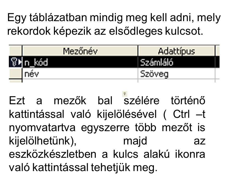 Egy táblázatban mindig meg kell adni, mely rekordok képezik az elsődleges kulcsot. Ezt a mezők bal szélére történő kattintással való kijelölésével ( C