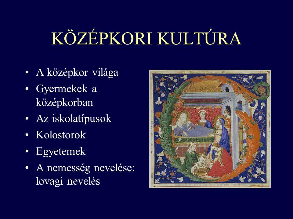 KÖZÉPKORI KULTÚRA A középkor világa Gyermekek a középkorban Az iskolatípusok Kolostorok Egyetemek A nemesség nevelése: lovagi nevelés