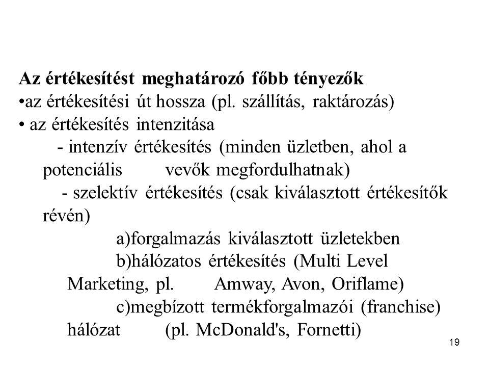 19 Az értékesítést meghatározó főbb tényezők az értékesítési út hossza (pl.