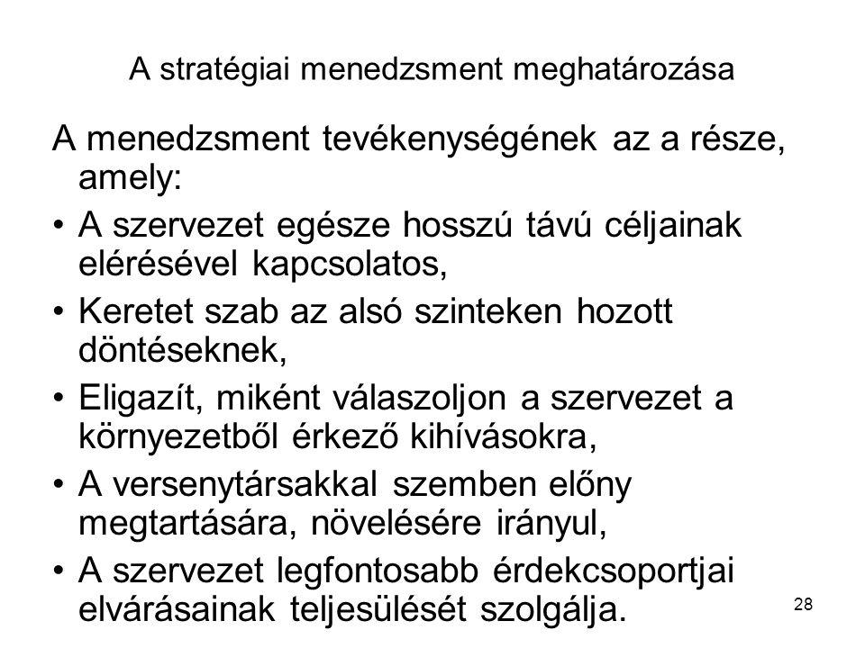 28 A stratégiai menedzsment meghatározása A menedzsment tevékenységének az a része, amely: A szervezet egésze hosszú távú céljainak elérésével kapcsolatos, Keretet szab az alsó szinteken hozott döntéseknek, Eligazít, miként válaszoljon a szervezet a környezetből érkező kihívásokra, A versenytársakkal szemben előny megtartására, növelésére irányul, A szervezet legfontosabb érdekcsoportjai elvárásainak teljesülését szolgálja.