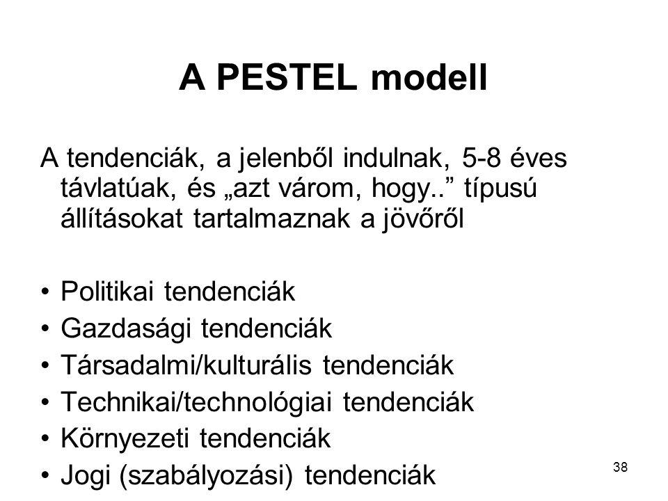 """38 A PESTEL modell A tendenciák, a jelenből indulnak, 5-8 éves távlatúak, és """"azt várom, hogy.. típusú állításokat tartalmaznak a jövőről Politikai tendenciák Gazdasági tendenciák Társadalmi/kulturális tendenciák Technikai/technológiai tendenciák Környezeti tendenciák Jogi (szabályozási) tendenciák"""