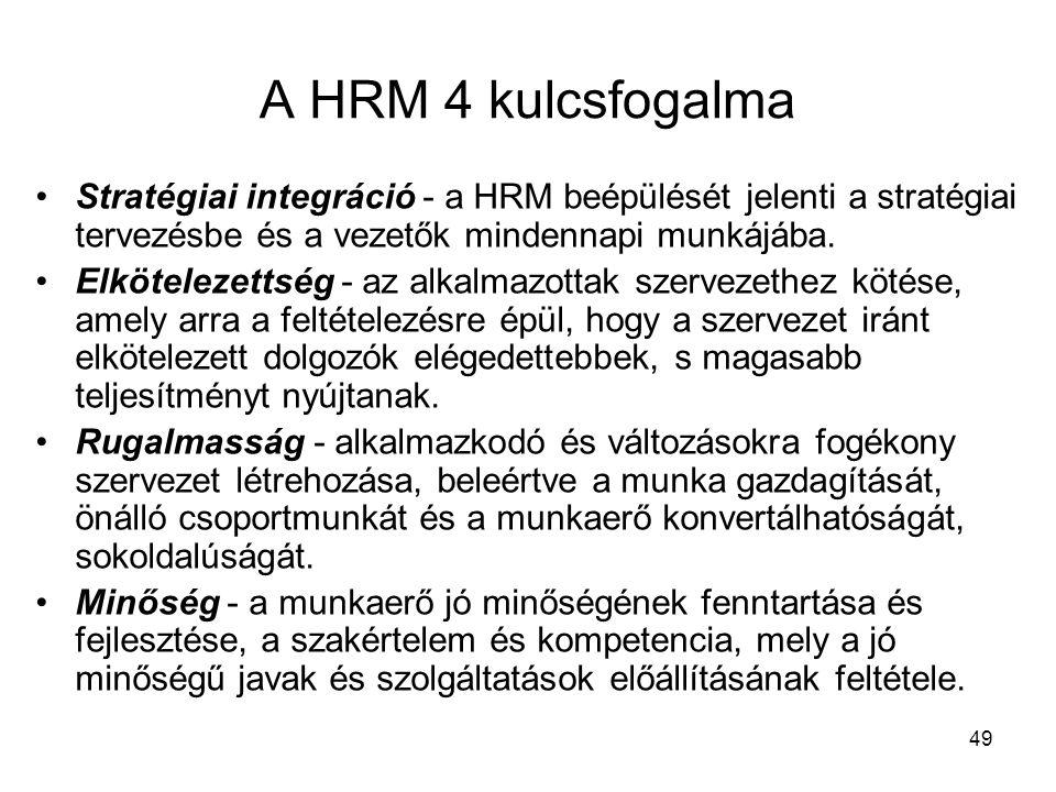 49 A HRM 4 kulcsfogalma Stratégiai integráció - a HRM beépülését jelenti a stratégiai tervezésbe és a vezetők mindennapi munkájába.