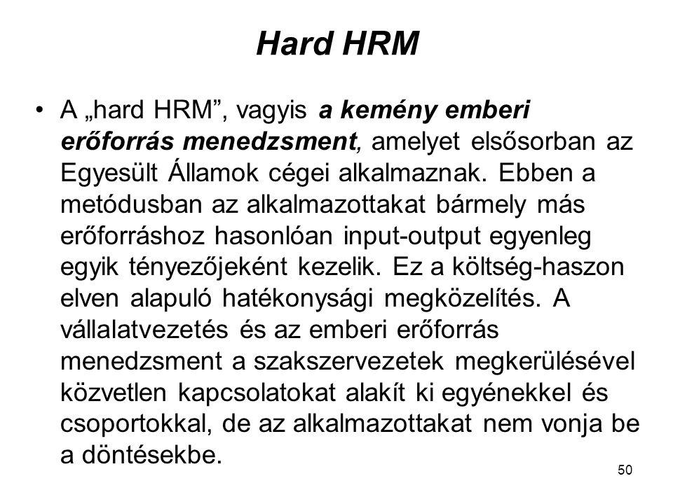 """50 Hard HRM A """"hard HRM , vagyis a kemény emberi erőforrás menedzsment, amelyet elsősorban az Egyesült Államok cégei alkalmaznak."""
